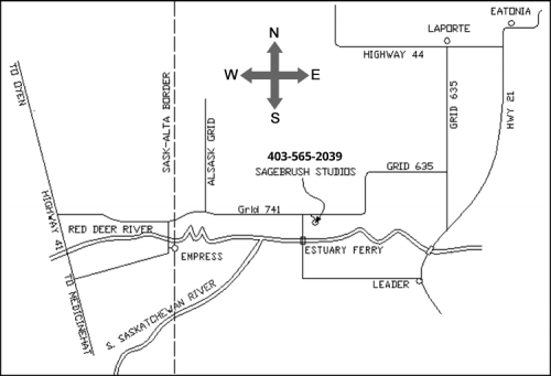 Click for a printable map to Sagebrush Studios